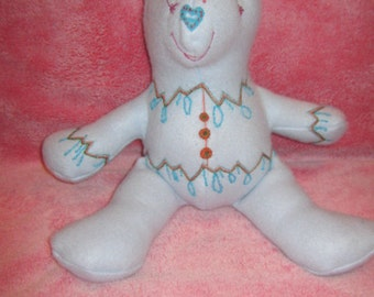 Hand Embroidered Fleece Bear..One of a Kind..