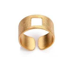 Square Ring-Geometry Collection-Handcrafted Gold Plated Brass