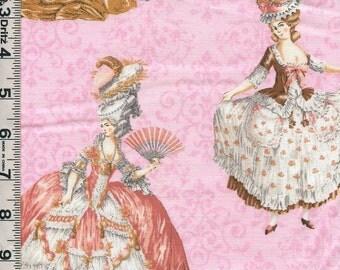 Fabric Kaufman Paris Panache Paris Marie Antoinette 1700s Fashions Wigs Louis XVI  on shaded pink 14485 10