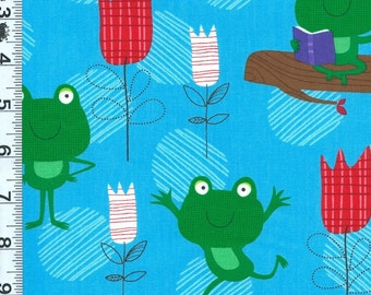 Fabric Timeless FROGS Hanging at the pool Reading Tulips pond blue C2457 BTY