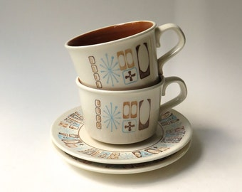 Mid Century vintage Taylor Smith and Taylor Taylorstone Moderne Cups and Saucers / Set of 2