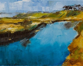Bright, Colorful, Rust, Orange, Yellow Landscape, Blue Water Stream, Original Painting by Clair Hartmann