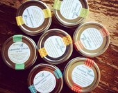 Five Lip Balm Tins /// Variety Sampler /// Cocoa Lavender, Cocoa Peppermint, Coconut Vanilla, Lemon Coconut and Sweet Orange Clove