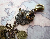 STEAMPUNK Series - Coins and Filigree Bling - Zipper Pull