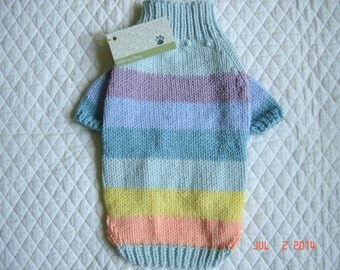 Pastel Striped Dog Sweater - Full Length Hand Knit Pet Sweater, Pet Top, Size XSMALL - Taffy
