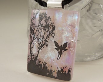 Fairy Tale Garden Necklace - Dichroic Fused Glass Pendant - Dichroic Glass - Fairy Wings X6745