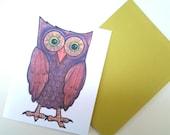 Owl Note Card,  original design illustration