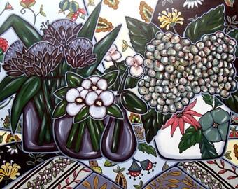 Acrylic Still Life Painting, Pansies, Hydrangea, Gray and Fushis, Original Art on Canvas, wall decor