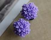 2g (6mm) Violet Flower Plugs- for stretched ears