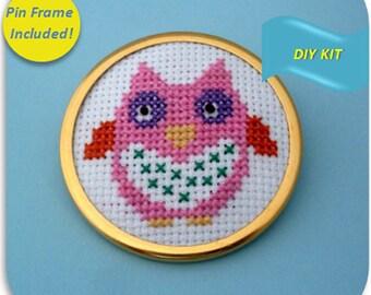 Owl Pin - Cross Stitch DIY Kit
