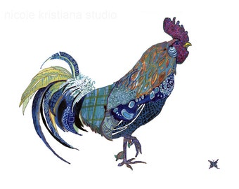Rooster // Blue Hen // Art Print // UD // Blue Rooster 13x19, 11x14, or 8.5x11