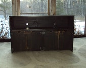 "Vinyl Record Cabinet 48"" wide 30"" Tall 15"" Deep Reclaimed Barn Wood look Media Console tv stand TV Cabinet  Entertainment Center distressed"