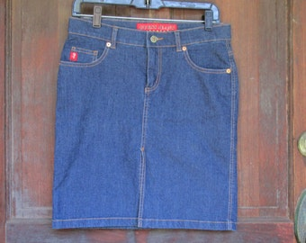 Denim Mini Skirt GUESS Vintage Blue Jeans High Waisted Skirt Stretch Cotton W 31 Country Western Farm Size 27 Teen Womens Denim Dark Blue