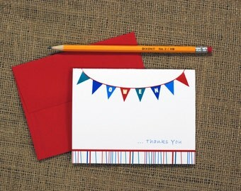 Personalized Folded Note Cards (Set of 10) - Flags Design