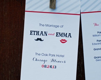Digital Files Only - Mustache and Lips Design Double-Sided Wedding Program