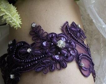 Sale,Plum Garter,Plum  Wedding,Aubergine Garter,Lace Garter,Bridal Garter Set,Rhinestone Garter,Aubergine Wedding Garter,Plus size Garter