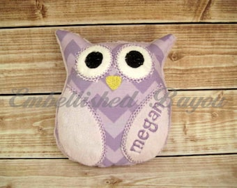 Personalized Stuffed Owl Soft and Plush Toy for Baby or Dog - SMALL