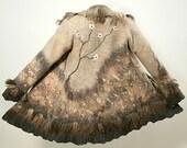 Felted wool coat winter jacket Eco friendly unique woodland fantasy custom