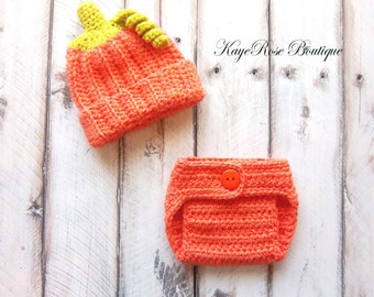 Halloween 3 to 6 Month Old Baby Fall Pumpkin Hat and Diaper Cover Set Orange