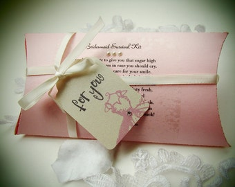 For You Tag- Bridesmaid Survival Kit in a Pillow Box- Shimmery cardstock- Poem included on box- Customize your colors- Items included
