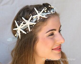 Beach Wedding Crown Starfish Crown, Beach Wedding Headpiece, Mermaid Costume Headband, Wedding Headpiece, Halloween Costume
