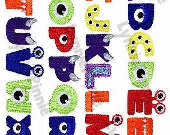 Little MONSTER ALPHABET  Embroidery Font  3 sizes  Machine Embroidery Design filled