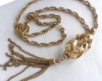 Tassel Necklace with Open Cage - Vintage Gold tone Tassel Necklace