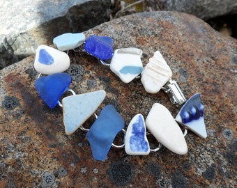Artifact baby blues   a totally one of a kind Maine sea glass and sea pottery link bracelet made with all found sea objects cornflower blue