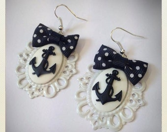 Old School Pin Up- Style Anchor Earrings, white color