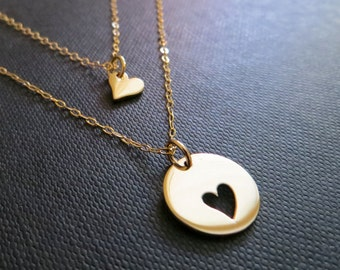 SALE Mother daughter necklace, two gold heart necklaces, mother daughter jewelry, mother and daughter