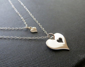 Mother daughter silver heart necklace, mothers necklace, push gift, newborn, mother and daughter necklace