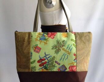 Shoulder Bag, green and brown patchwork  bag