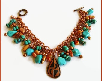 Copper and Turquoise Spiny Oyster Charm Bracelet Southwestern Desert Sky Vivid Colors