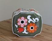 Illustrated tin box, English Riley's toffee orange green modern flowers 70s