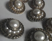 lot of 7 Vintage BUTTONS, shank style, Pearl and gold Chain
