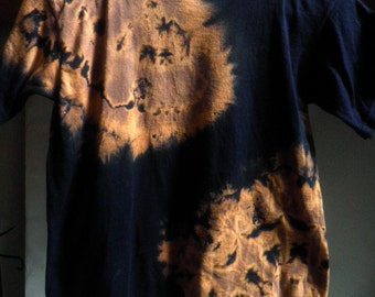 Child's TYE-DYE T shirt, Navy blue and oranges, Size Youth Medium