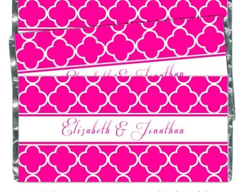 Wedding Candy Wrappers, Pink Quatra Foil Bridal Shower Candy Wrappers - fit over 1.55 oz chocolate bars - CUSTOM for you, your colors, theme