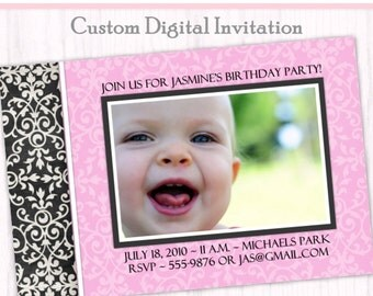 First Birthday Photo Card Invitation - custom design for YOU, matching your photo, 1st Birthday Invite, digital design