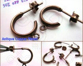last 5packs -50% / D206BZ / 12Pc / Loop diameter 11mm - Antique Copper Plated Thick Curved Loop Ear Studs with Ear Backing