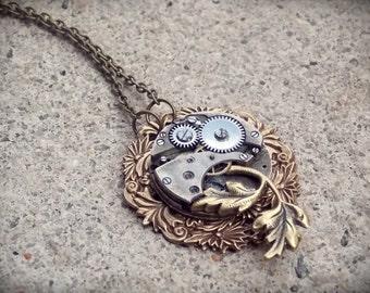 Steampunk Necklace Vintage Watch Movement Clockworks Brass Steampunk Jewelry
