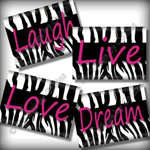 Pink Zebra Print Wall Art Decor Quotes Inspirational Love ~ 235855_Zebra Print Dorm Room Ideas