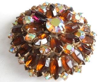 Large vintage amber and Aurora Borealis glass rhinestone brooch