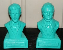 Composer Wagner Bust Statue Small Bright Blue Turquoise Painted Ceramic Musician Figurine