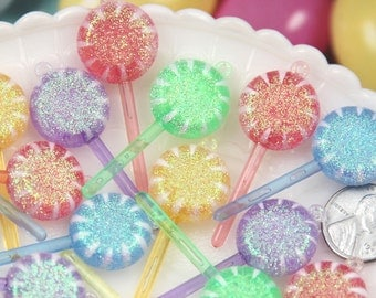 19mm Pastel Glitter Swirl Little Lollipop Resin or Plastic Charms or Pendants - 8 pc set