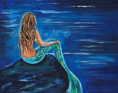 "Mermaid ART PRINT GICLEE Mermaids Blonde Girl Room Decor Beach Theme Seascape Fantasy  Child  ""Evening Tide Mermaid"" Leslie Allen Fine art"
