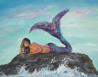"Mermaid Wall ART PRINT GICLEE Mermaids Turquoise Aqua Purple Teal Tail Ocean Seascape Fantasy ""Daydreaming Mermaid"" Leslie Allen Fine Art"