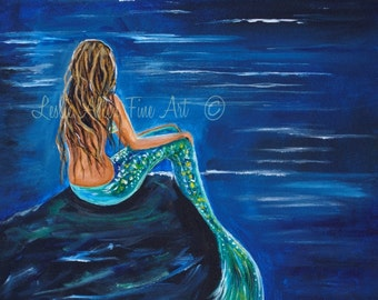 "Mermaid ART PRINT GICLEE Mermaids Blonde Girl Room Decor Beach Theme Seascape   ""Evening Tide Mermaid"" Leslie Allen Fine art"
