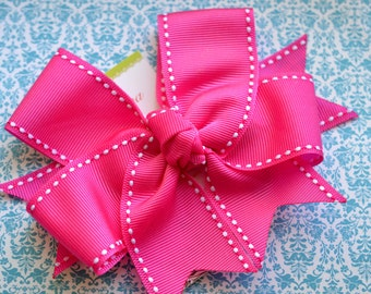 All Stitched Up...Hot Pink XL Diva Bow