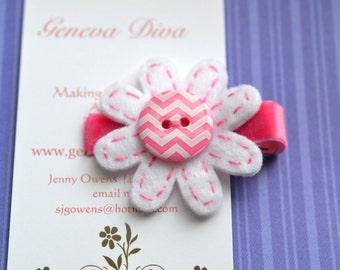 Pink Chevron Felt Flower Clip