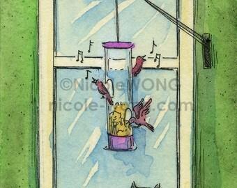 Original ACEO Painting -- Bird feeder